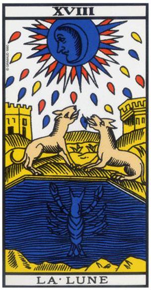 b6edbe0cbb1def Cette carte du Tarot de Marseille évoque les rêveries, les déprimes,  l imagination, voire le fait d être enceinte.